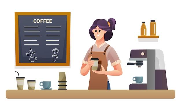 コーヒーショップのカウンターイラストでコーヒーを運ぶ女性バリスタ
