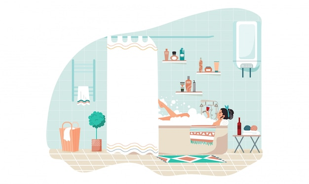 Woman bathing at home, beautiful girl relax with glass of wine alone,  illustration