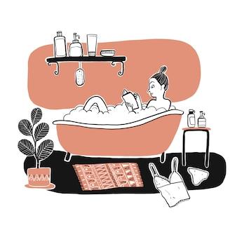 バスタブで入浴する女性。