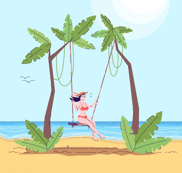 Woman in bathing suit on swing flat doodle illustration
