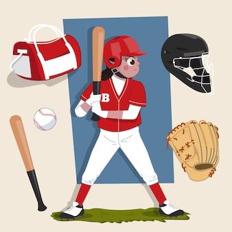 Woman batter baseball athlete 2d character ready for animation complete with sports equipment