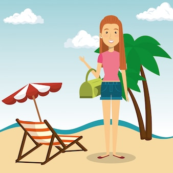 Woman in the beach character