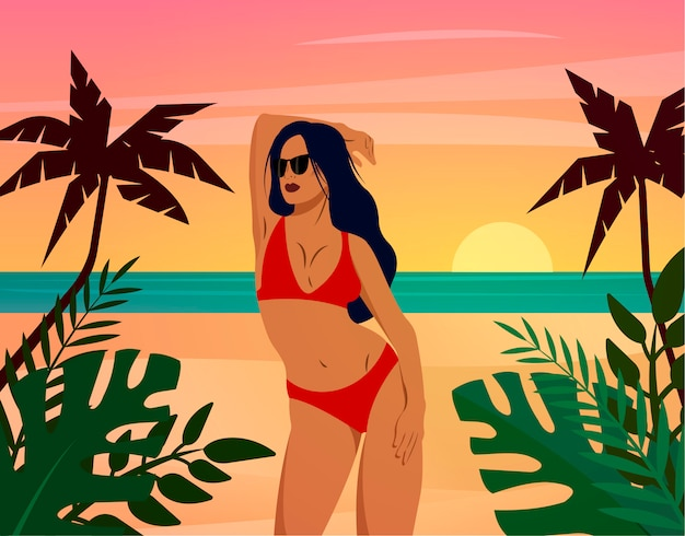 Woman at the beach posing in a red bikini. concept for tourism agencies, swimwear shops. fashion illustration.