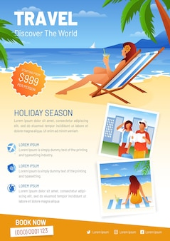 Woman at the beach travel sale flyer template