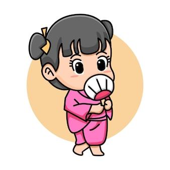 Женщина красивая поза с кимоно мультфильм