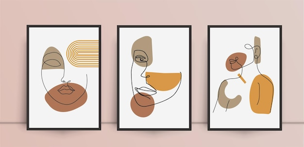 女性の美しさの抽象的な壁アートセット Premiumベクター