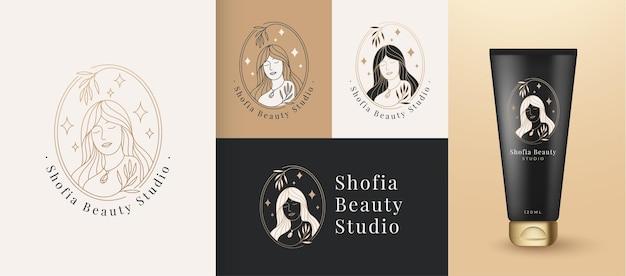 여자 아름다움 얼굴 로고 선형 스타일, 뷰티 스튜디오 및 화장품 브랜드 템플릿