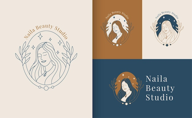 Woman beauty face logo linear style, beauty studio and cosmetic brand template