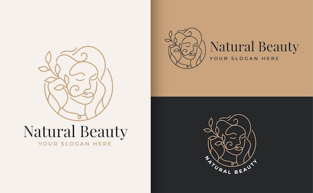 Woman beauty face logo linear style