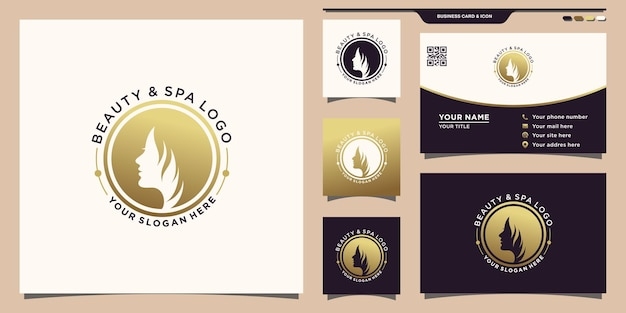 Woman beauty face logo with unique circle concept and business card design premium vector