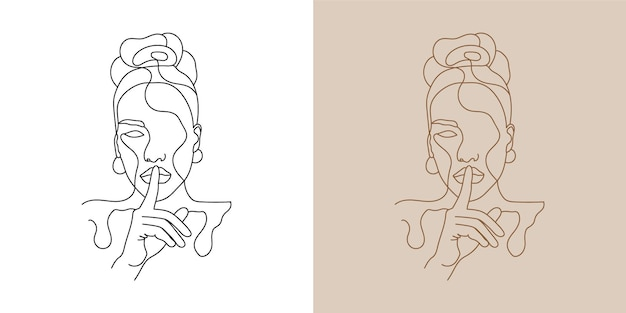 Лицо женщины красоты минимальное ручное рисование линии искусства печати готового искусства стены.