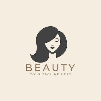 Лицо женщины красоты с длинными волосами в черно-белом винтажном логотипе в стиле силуэта