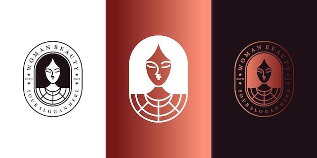 현대적인 엠블럼 라인 아트 스타일의 여성 뷰티 로고 디자인 프리미엄 벡터