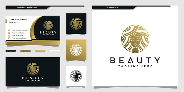 Woman beauty logo with gold gradient negative space concept for beauty salon premium vektor
