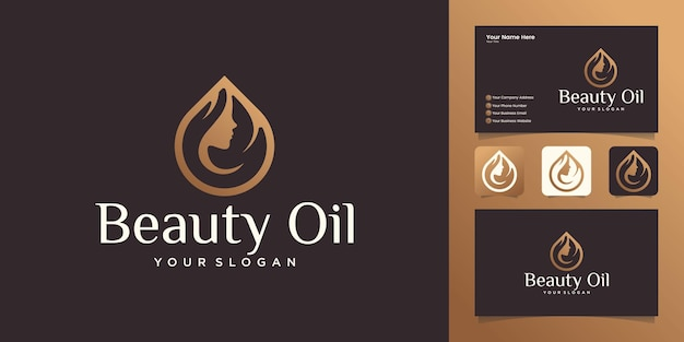 Woman beauty oil logo design with woman face and olive oil design template and business card