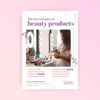 Woman and beauty products cosmetic flyer template