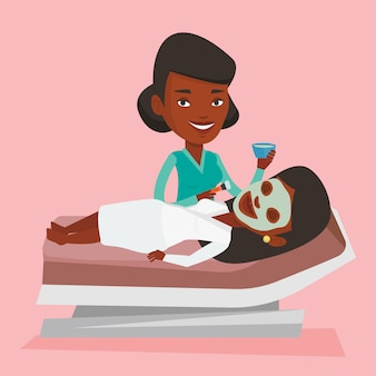 Woman in beauty salon during cosmetology procedure