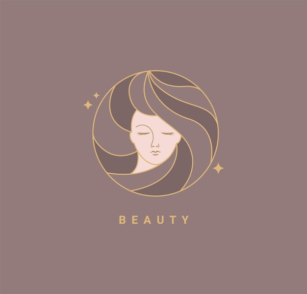 Woman beauty salon fashion template logo. design in minimal style, emblem for beauty studio and cosmetics, badge for make up, beautiful woman face face in hair.vector illustration.