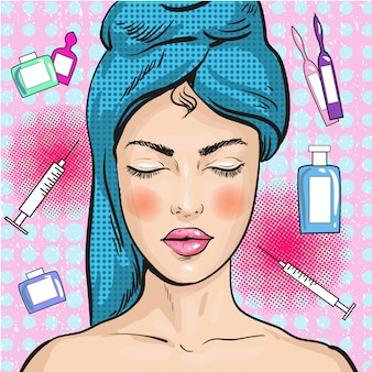 Woman in beauty salon in pop art style