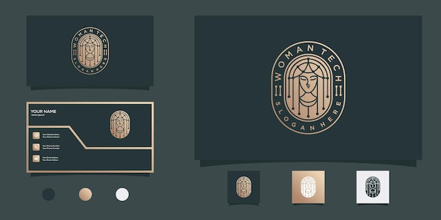 Woman beauty tech logo design with modern gold emblem style and business card design premium vector