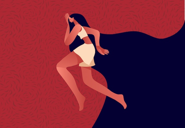 Woman in the bed, trying to fall asleep. Premium Vector