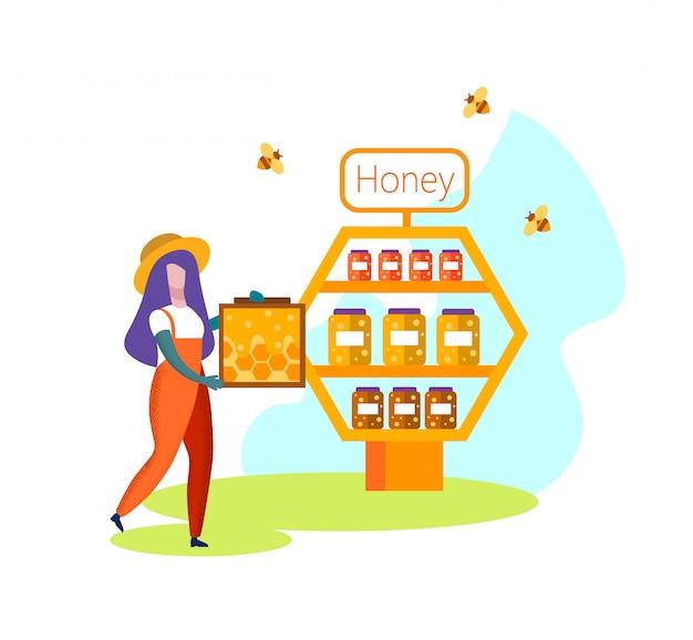 Женщина пчеловод фермер в форме несут соты