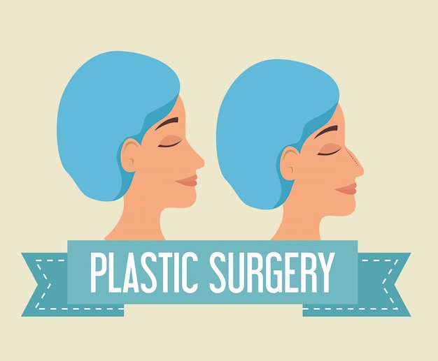 Woman before and after of plastic surgery process