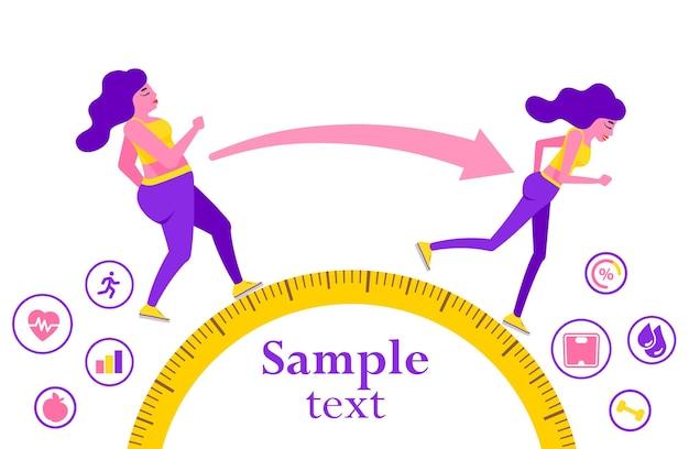 Женщина до и после диеты и фитнеса