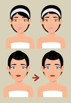 피부 치료 전후 여자