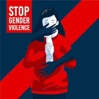 Woman being harassed in gender violence illustration