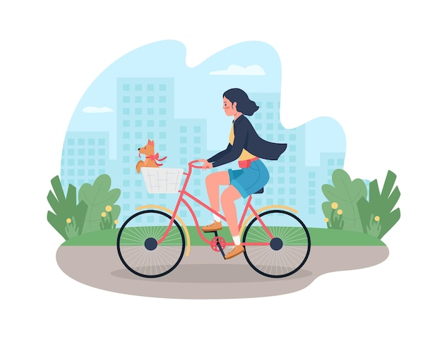 Woman on bicycle with dog in basket 2d web banner poster