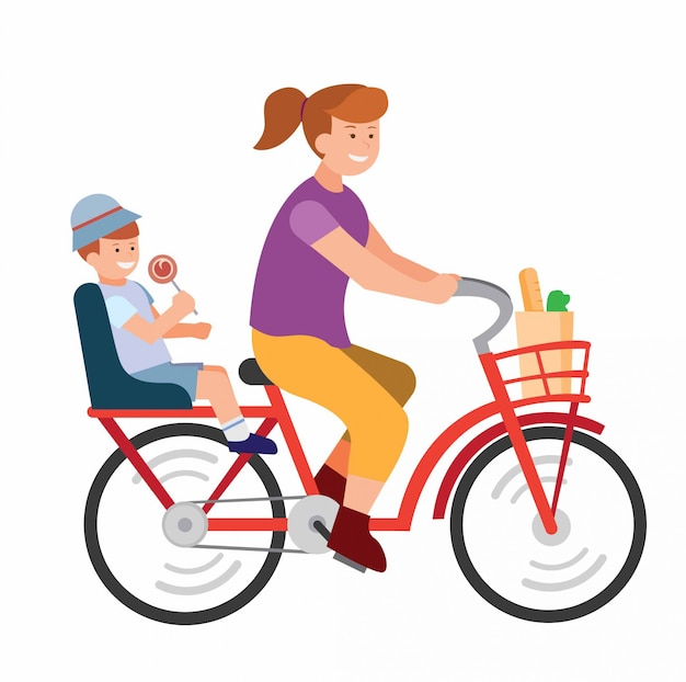 Woman on bicyle with her child going to school flat illustration