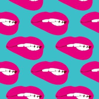 여자 물고 입술 벡터 원활한 패턴