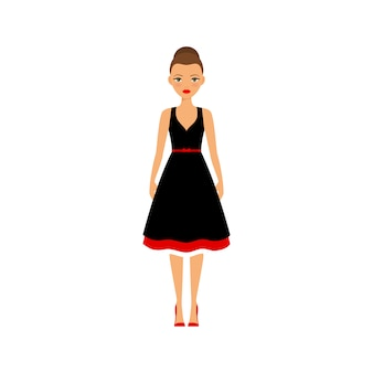 Woman in black and red dress