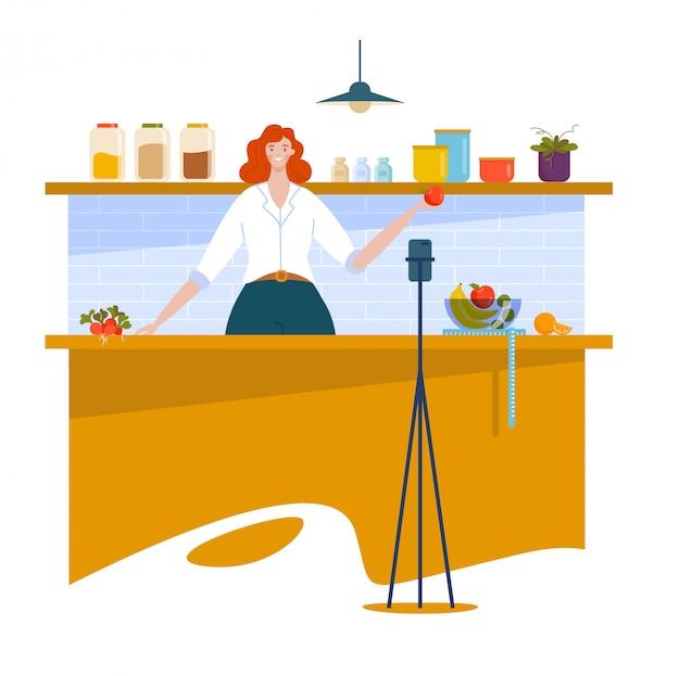 女性のブロガーのキャラクター、クッキングストリームオンラインインターネットショー、女の子は白、漫画イラストで隔離される食糧を準備しました。
