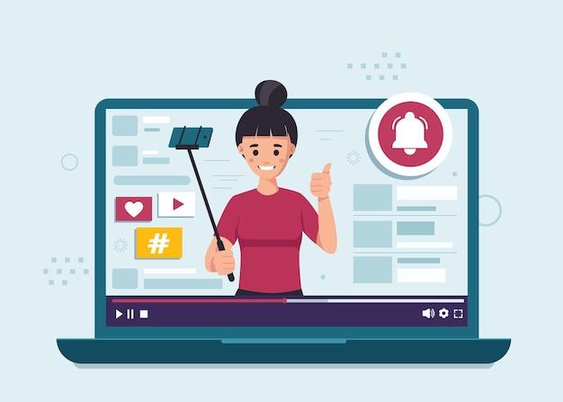 여성 블로거. 개념 평면 디자인 일러스트를 구독하십시오.