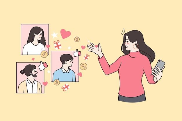 여성 블로거는 휴대전화에서 소셜 미디어를 사용합니다.