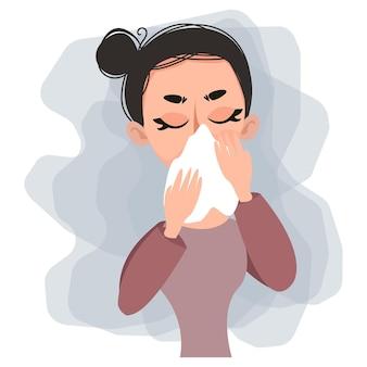 白い紙のスカーフで彼女の鼻を吹く女性風邪の病気やアレルギーベクトル図