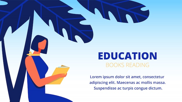 Woman in blue dress read book under palm tree. banner template