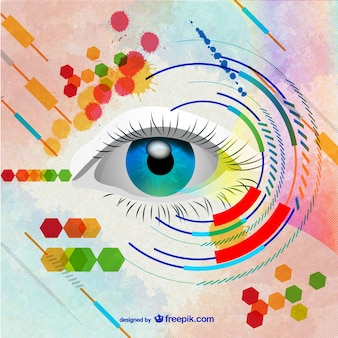 Woman blue eye and abstract background Free Vector