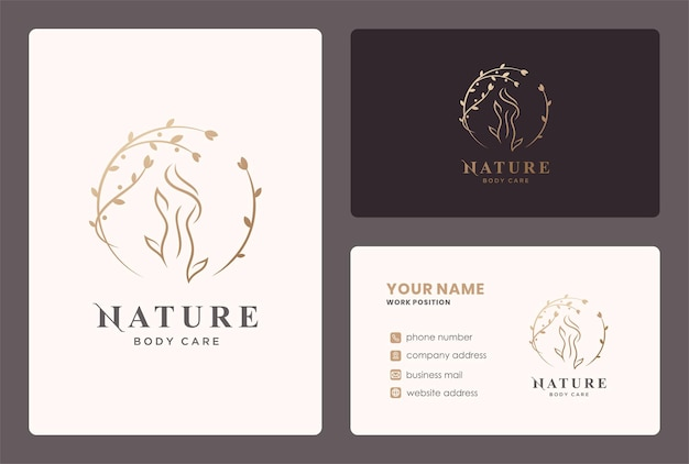 Woman body care logo with circle leaf element and business card design.
