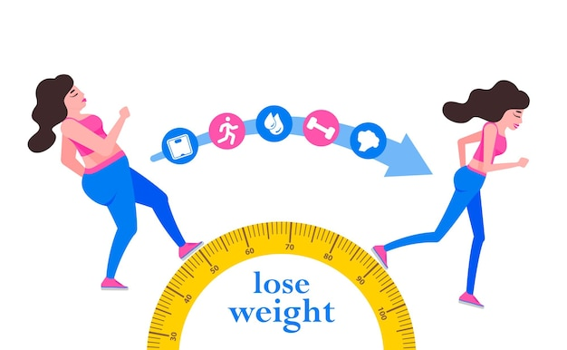 Woman body transformation concept running girl is loosing weight
