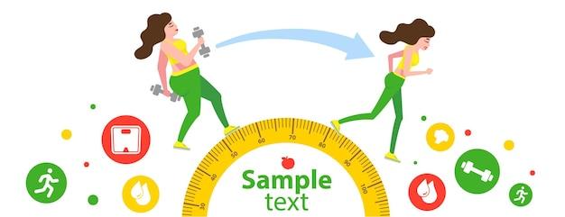 다이어트 또는 체중 감량 전후의 여성 신체 변형 개념 여성