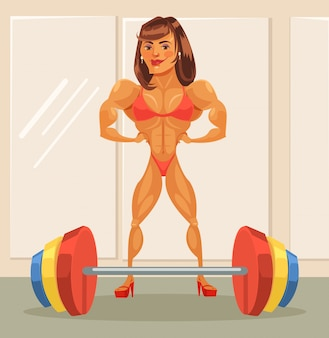 Woman bodybuilder.  flat cartoon