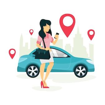 Женщина заказывает такси с помощью приложения на мобильном телефоне. транспортные услуги онлайн. концепция путешествия. иллюстрация