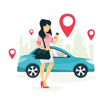 Woman book a taxi by a app on the mobile phone. transportation service online. travel concept.    illustration
