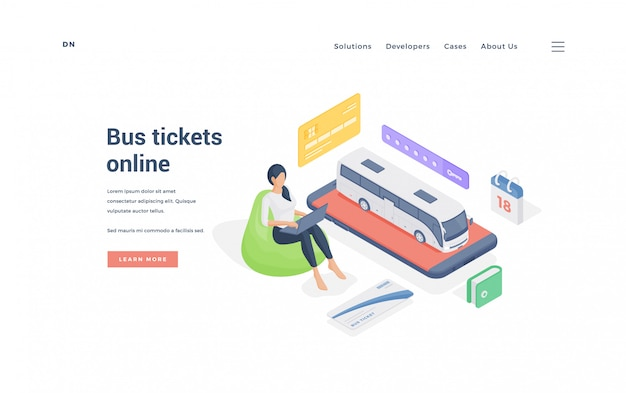 Woman booking bus tickets online.   illustration