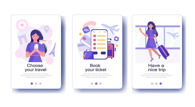Woman booking plane travel in paris app template