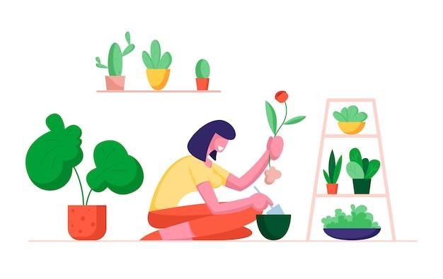 다른 냄비에 이식 홈 식물을 파고 삽을 들고 여자 식물 학자
