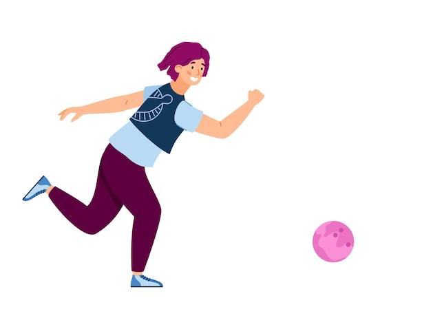 分離されたボールフラットベクトルイラストを投げる女性ボウリングプレーヤー
